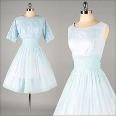Vintage 1950s Dress . Blue Chiffon . Bolero . L . 2751