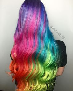Girl with multi color hair Cute Hair Colors, Pretty Hair Color, Beautiful Hair Color, Hair Dye Colors, Hair Colour, Exotic Hair Color, Pelo Multicolor, Unicorn Hair Color, Creative Hair Color