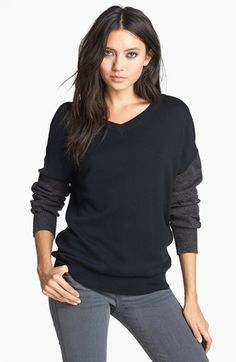 Leith French Terry V-Neck Sweater   Nordstrom