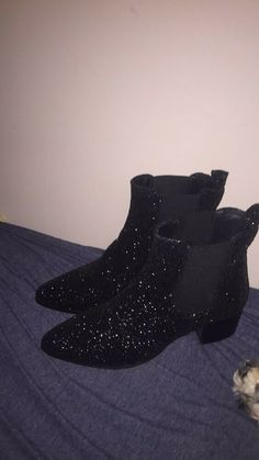 07e8398840a Sixtyseven brand black glitter booties size 9  fashion  clothing  shoes   accessories