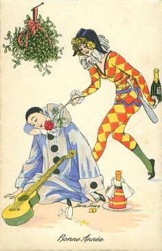 Pierrot dozes on ground under mistletoe, guitar in lap, Pierrette offers him a rose to smell, bottle in hand