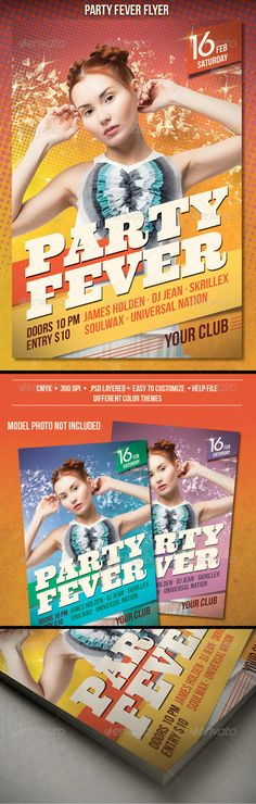 """Party Fever Flyer  #GraphicRiver        Party Fever Flyer  The PSD file is very well organized in folders and layers. You can modify everything very easy and quick. Changing the color style, pictures and the typo is no problem. The main folders that will require most customization are highlighted in different colors.  PRINT READY : 1275px x 1875px (4×6"""" with .25"""" bleeds), CMYK , 300DPI, .PSD layered  The Model Photo is not included. You can download it here.   The free fonts used in the…"""