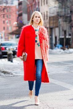 fuzzy red oversized coat