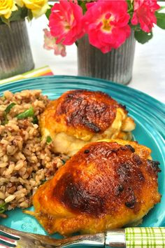 Apricot-Glazed Chicken Thighs - delicious dinner on the table in one hour 15 minutes inspired by @Better Homes and Gardens