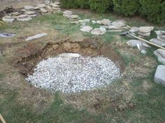 Filling Fire Pit Base with Rock Fire Pit Base, In The Hole, Residential Real Estate, Rock, Garden, Outdoor Decor, Sprinkler, Backyards, Trees