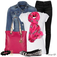 Pink, black, white, and denim spring outfit. I need a white t-shirt!