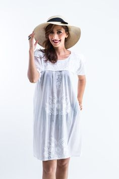 Easy Daisy White Mexican Dress Romantic by EmbroideredLoveShop