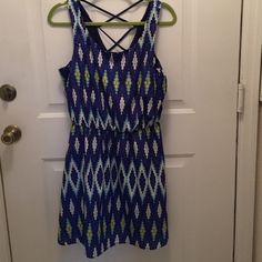 Sun dress Casual sun dress. Scooped neckline, sleeveless. Back has crisscross straps. Elastic waist.  35 in length, 16 in under arms and 14 1/2 in waist. Blue, white and yellow. Polyester. Cute! My Michelle Dresses