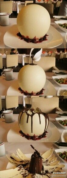 El chocolate va derritiendo el globo de chocolate blanco