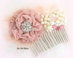 ***Made Upon Request- This bridal comb can be made in ANY color scheme  This piece was created for a bride who was looking for an elegant comb in shades of pink, ivory and champagne with a little sparkle. All the flowers are handmade using premium quality satin and accented with crystals, rhinestones and my signature pearl and crystals cluster. The arrangement sits on a silver comb. The last photo shows the matching sash.  ***Are you looking for a specific color combination? Let me design…