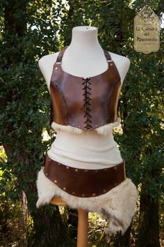 Tribal barbarian female costume, leather fur chest belt and bracelets, warrior, priest, shaman, for rol, larp, dance, armor