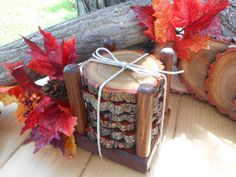 Wood Slice Coasters.. 6 Count Natural Rustic Wood Coasters  With Holder (Sassafras) on Etsy, $19.95