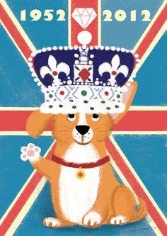 Corgi Diamond Jubilee A4 Print by 2DScrumptious on Etsy