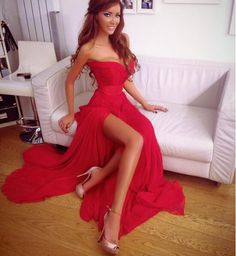 Charming Prom Dress,Red Chiffon Prom Dress,Side Slit Evening