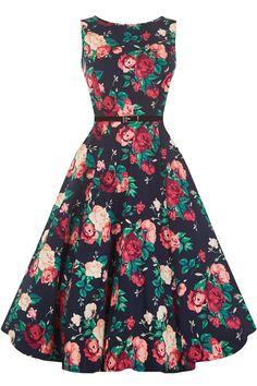 Winter Floral Hepburn Dress : Lady Vintage