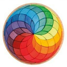 Grimm's - Circle Spiral Mandala Puzzle - love this gorgeous wooden puzzle, I can imagine kids young and old finding different uses for the blocks Grimm's Toys, Grimms Rainbow, Wooden Wagon, Water Based Stain, Natural Toys, Make Pictures, Toy Craft, Imaginative Play, Creative Thinking