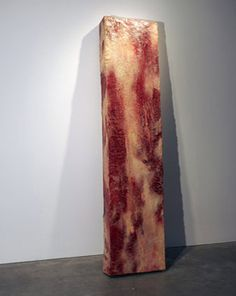 """This slightly uncanny piece of modernistic meat is actually not made from meat, but from wax, oil, paint polystyrene, stage blood & latex, by artist John Isaacs, who titled it """"Further uses of the dead to the living (meat)"""".  John Isaacs is also the creator of the Blob Man."""