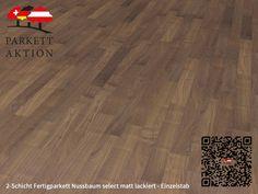 2-Schicht Fertigparkett Nussbaum select matt lackiert - Einzelstab Format: 490 x 70 x 11 mm Hardwood Floors, Flooring, Crafts, Home, Plank Flooring, Cottage Chic, Wood Floor Tiles, Wood Flooring, Manualidades
