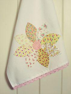 pretty dahlia flour sack tea towel no. 3 new in the shoppe! vintagegreyhandmade