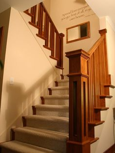 Prairie Style Ranch Remodel: Staircase and Railing Detail - craftsman - staircase - columbus - RTA Studio Craftsman Staircase, Craftsman Interior, Craftsman Style Homes, Craftsman Bungalows, Stair Railing Design, Traditional Staircase, Wall Writing, Ranch Remodel, Guide