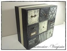 Small Furniture, Repurposed Furniture, Painted Furniture, Hobbies And Crafts, Diy And Crafts, Cigar Box Crafts, Sewing Room Organization, Decoupage Vintage, Tea Box
