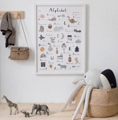 French alphabet poster for kids by Linda Tordoff for L'Affiche Moderne. Illustrated abc, limited edition wall art for children's rooms Poster Alphabet, Alphabet Print, French Alphabet, Nursery Prints, Nursery Decor, Nursery Ideas, Room Decor, Bedroom Posters, Grey Room