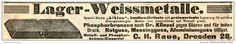 """Original-Werbung/ Anzeige 1908 : LAGER - WEISSMETALLE - """"ALBION"""" - RAUE - DRESDEN  - ca. 200 x 30 mm"""