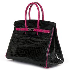 3ce99cbbb0 Very Rare Hermes HSS 35cm Shiny Black Crocodile Birkin Bag with Fuchsia Trim