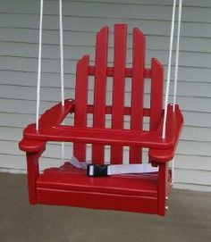Childrens Adirondack Swing - Rope & Seat Belt Included - Weather Resistant Aspen Wood Inches square x 20 inches High - Made in USA Constructed from The Sims, Sims 4, Outdoor Chairs, Outdoor Furniture, Outdoor Decor, Adirondack Chairs, Outdoor Fun, Outdoor Paint, Pallet Furniture