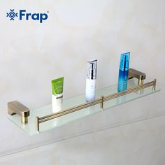 Frap 1 Set Retro Style Bathroom Accessories Space Aluminium Bronze Brushed With Glass Single Tier Bath Shelf