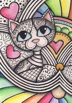 ACEO - Zentangled Cat Design - Original Art in Art, Paintings Zen Doodle, Doodle Art, Zentangle Drawings, Zentangles, Cat Drawing, Cat Design, Love Art, Cats And Kittens, Anime Art