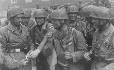 German paratroopers who took part in the capture of the Belgian fort Eben-Emael, after returning to the place of permanent deployment in Cologne. Left to right: Edmund Schmidt (Edmund Schmidt, 4th squad), Gerhard Becker (Gerhard Becker, 5th squad), Franz Janowski (Franz Jannowski, 5th Squad), Carl Polzin (4 Detachment), William Stookey (Wilhelm Stucke, 1st Squad), Harm Mulder (Harm Mülder, 7 Detachment), Elman William (Wilhelm Ölmann, 2nd squad), Peter zirvesi (Peter Zirwes, 6 Detachment).