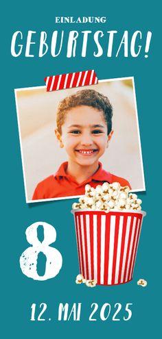 Einladung Kindergeburtstag Filmparty - Kindergeburtstag #kindergeburtstag #filmparty #einladung #einladungen #einladungskarten #einladungskarte #geburtstagseinladung #kinder #geburtstag #kaartje2go Popcorn, Movies, Movie Posters, Alter, Design, Products, Movie, Invitation Birthday, Invitation Cards