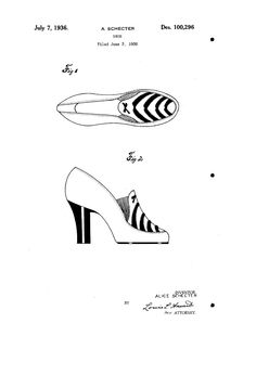 1936 DESIGN FOR A SHOE  Alice Schecter