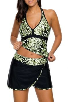ed84d7aad8 10.12 Olive White Spots V-neck Tankini Wrapped Skirt Swimsuit Bathing Suit  Skirt
