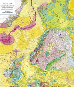 Geological Map of Land and Sea Areas of Northern Europe