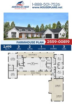 Best simple floor plan but add outdoor shower, screened in porch and sitting room and bath off one bedroom. House Plans One Story, Ranch House Plans, Best House Plans, Dream House Plans, Story House, Dream Houses, Unique House Plans, Home Office, Bedroom Office