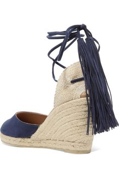 Wedge heel measures approximately 80mm/ 3 inches Navy suede Ties at ankle