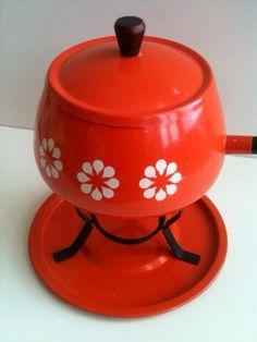 Vintage orange red fondue pot on Etsy, $25.00