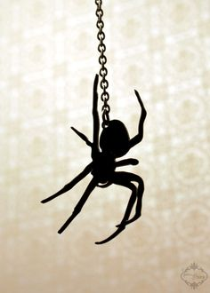 Spider necklace in black stainless steel by FableAndFury on Etsy