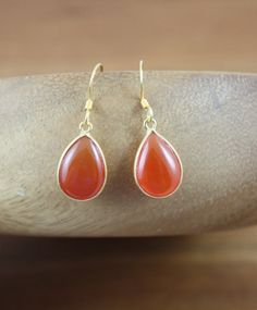 Smooth Carnelian Bezeled Small Drop Gold Filled by YaniaCreations, $40.00