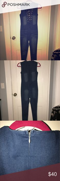 Sassy sexy Jean jumpsuit. This jumper is so cute. Fits nice shows off all your curves. Nice for a day out and sexy for a night out. Had a nice stretch to it. New never worn out no tags Jeans Straight Leg
