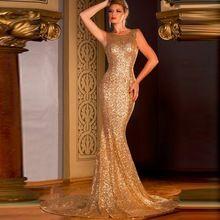 2016 sirène sans manches Cheap or paillettes Backless Pageant robes de bal robes…