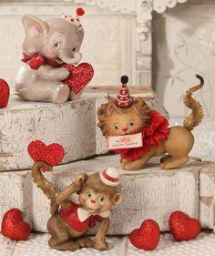 Wild About You Valentine Animal Figurines Retro Valentine's Day Decor - TheHolidayBarn.com