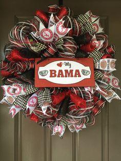 Alabama Football, University of Alabama Wreath, BAMA Wreath, Alabama Wreath, Football,  Deco Mesh Wreath, Alabama Ribbon, Graduation Gift