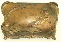 Antique Art Nouveau W.B. Mfg Co. JEWELRY CASKET w CHERUB Vintage Trinket Box   eBay
