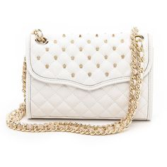 Rebecca Minkoff Mini Quilted Affair With Studs - White ($225) ❤ liked on Polyvore featuring bags, handbags, shoulder bags, accessories, purses, bolsas, man bag, leather shoulder handbags, hand bags and white leather purse