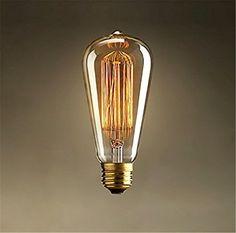 Retro lampe st64 vintage edison birne e27 glühbirne 220 v 40 watt licht Jg