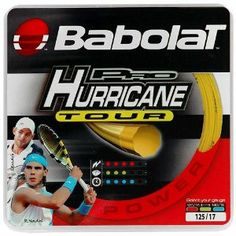 Babolat Pro Hurricane Tour (COLOR: Natural, TENNIS GAUGE:16) by Babolat. $50.00. Babolat Pro Hurricane Tour Discover the ultimate string experience and see spectacular results in your game with the Babolat Pro Hurricane Tour ! Maximum tension: 125/17: 28 kg/ 62 lbs 130/16: 30kg/68 lbsCOLOR: Natural, TENNIS GAUGE:16