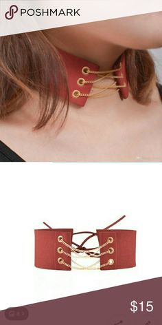 93082abb06ed Red women s fashion choker Suede choker with gold chain laced up in the  front. Adjustable in the back with suede string. Width a little over 1.5